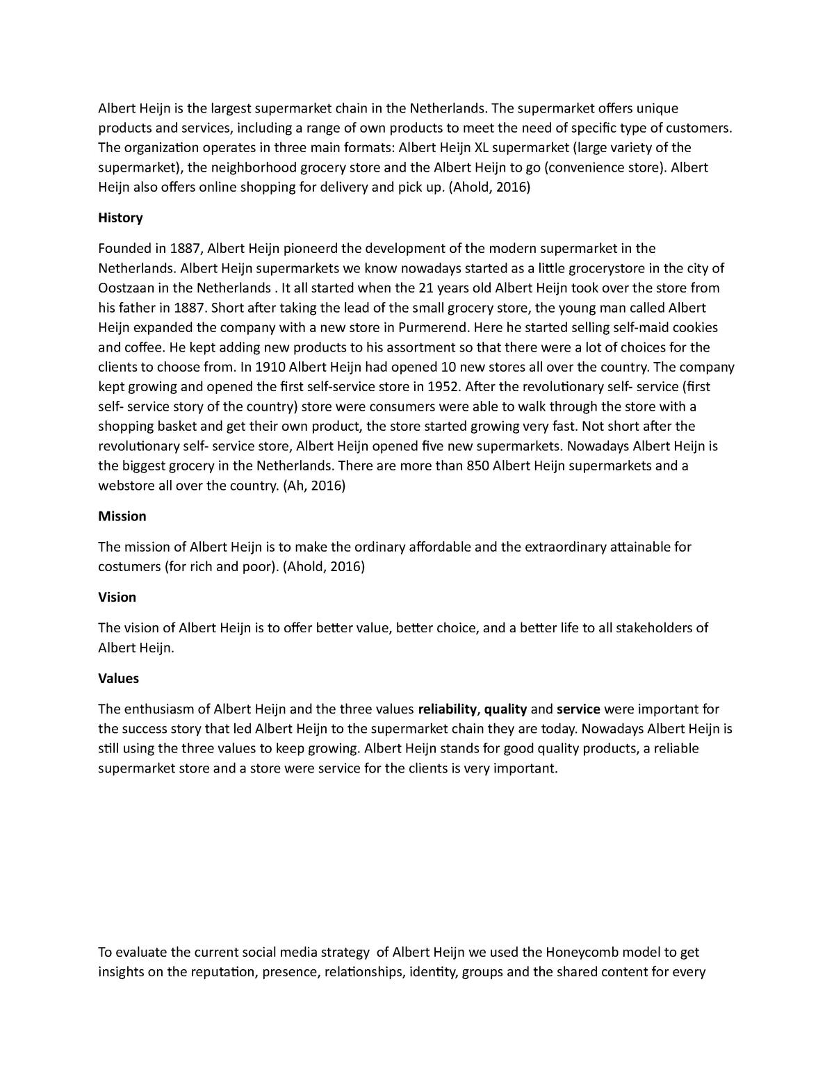 Werkstuk Albert Heijn - cijfer 7 5 - S_CW: Communicatiewetenschap