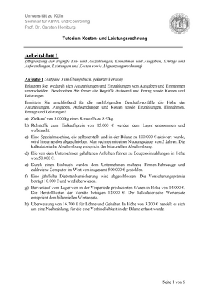 Pflichtaufgaben Arbeitsblatt 1 - 01000: Kosten- und ...