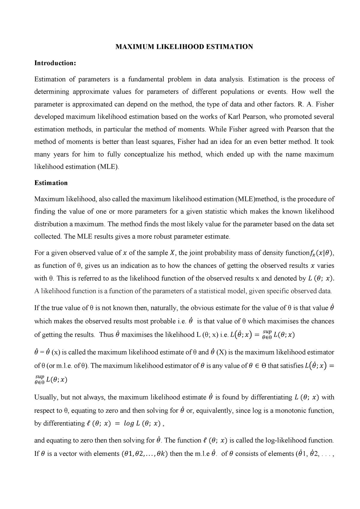 Maximum Likelihood Estimation Notes - Econometrics ECON20110