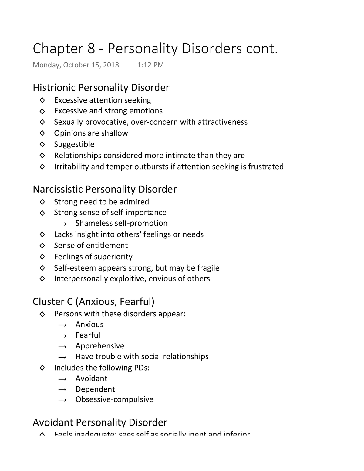 Chapter 8 - Personality Disorders cont - 3750 480-002