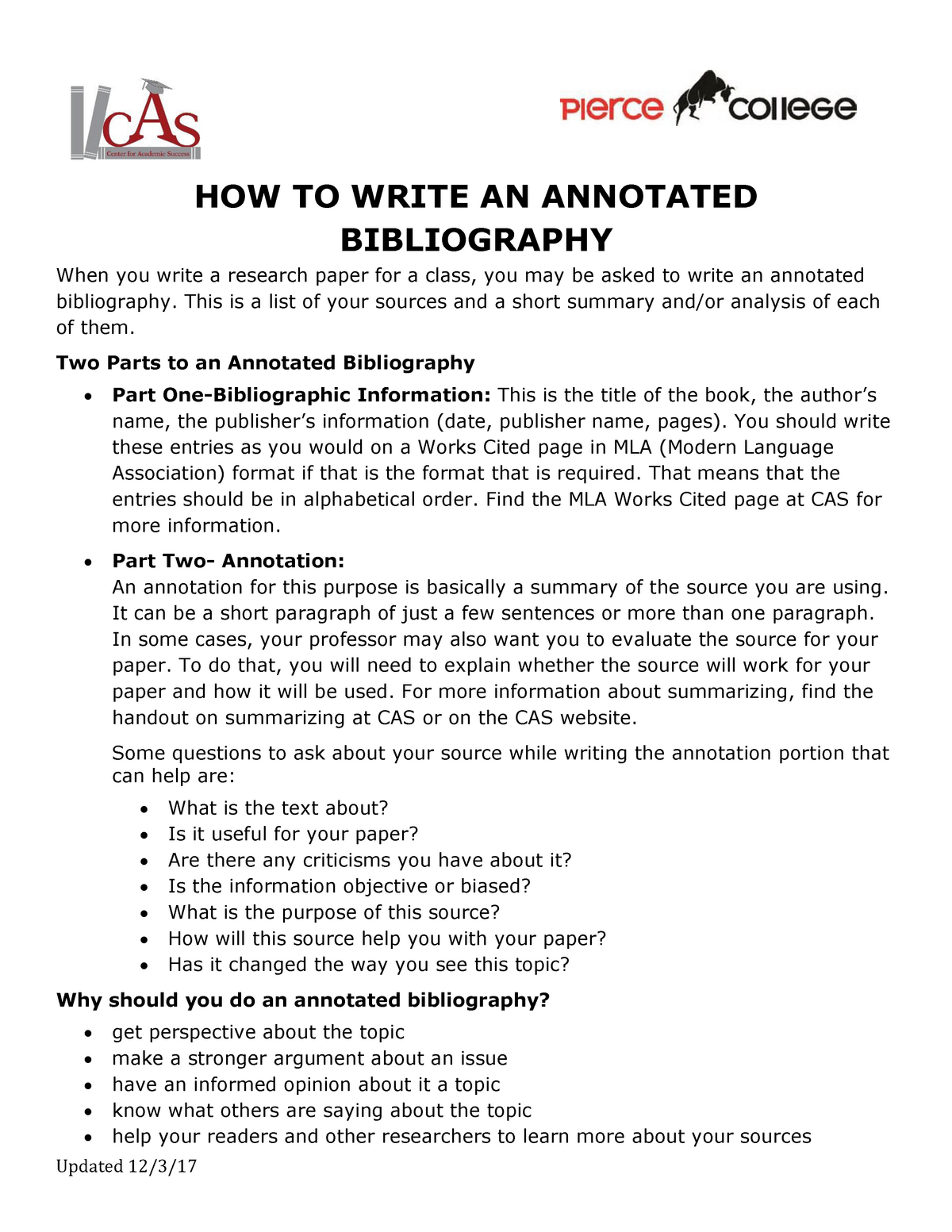 How to right an annotated bibliography