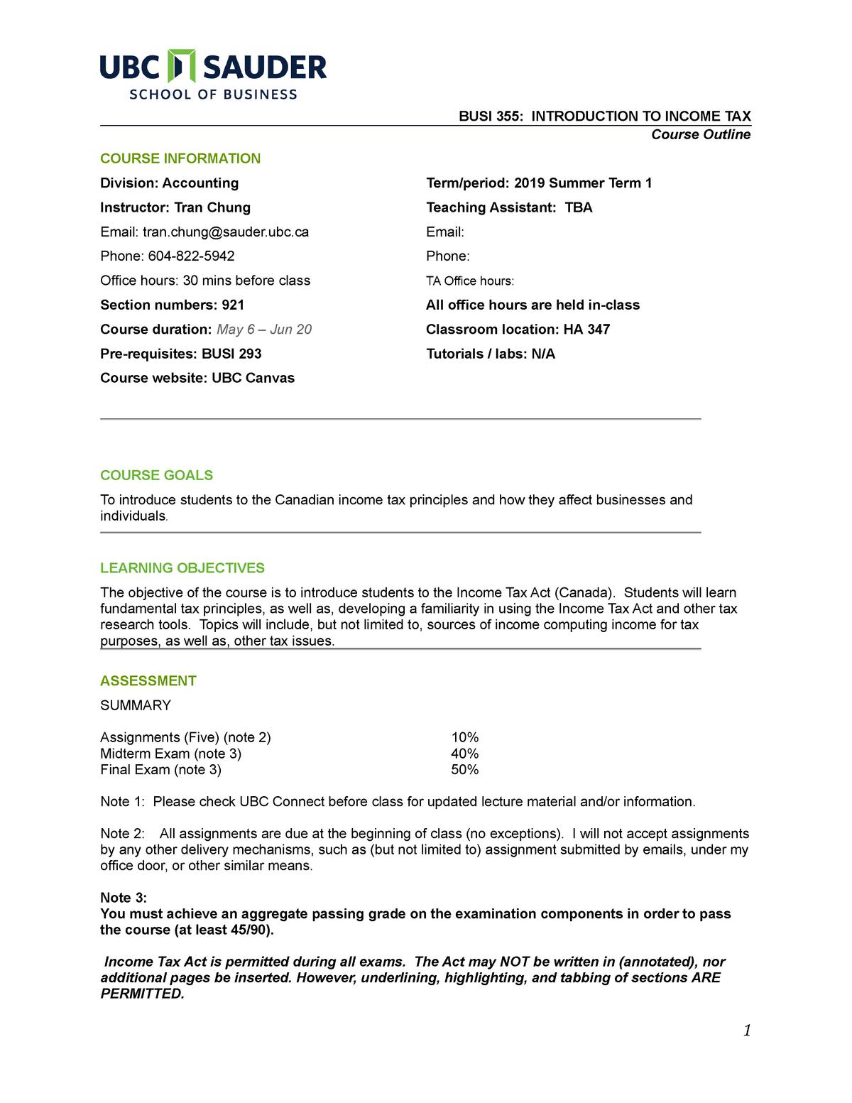 BUSI 355 2019 S Course Outline - BUSI 293 - UBC - StuDocu