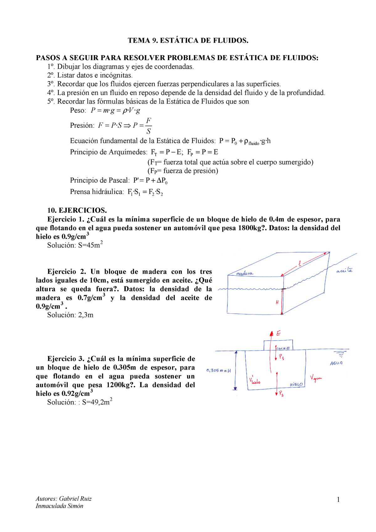 Problemas Tema 9 Con Soluciones Estática De Fluidos 979