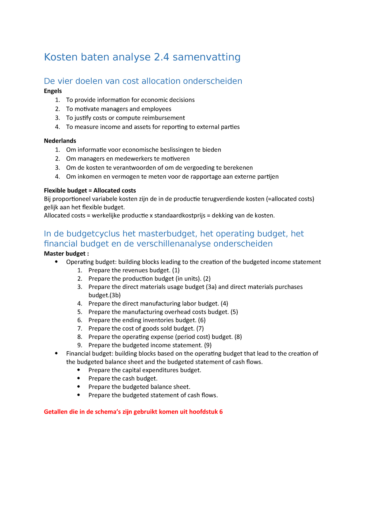 54504ccf04810e Kosten baten analyse 2.4 samenvatting - L.FEM.11398 - StudeerSnel.nl