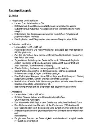 Zusammenfassung - Rechtsphilosophie Antike - Rechtsphilosophie II