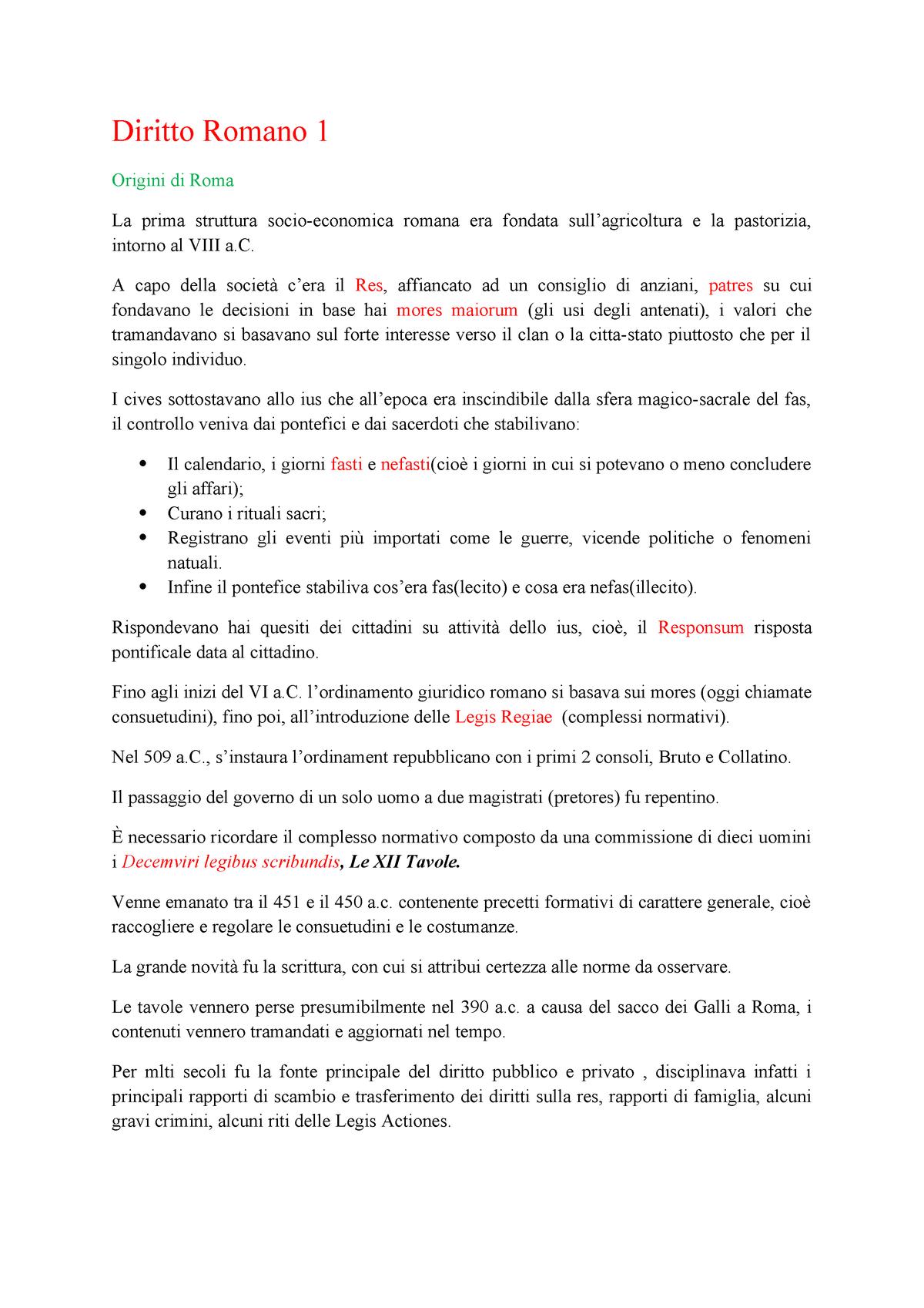 Il Calendario Romano Riassunto.Diritto Romani 1 Riassunti Ius 02 Studocu