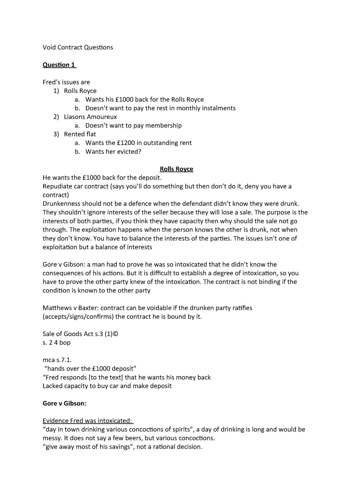Void Contract Questions - LAW 103x - Lancaster - StuDocu