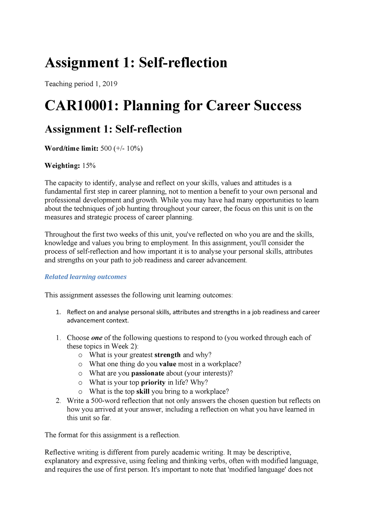 Assignment 1 details- self reflection - CAR10001: Planning for