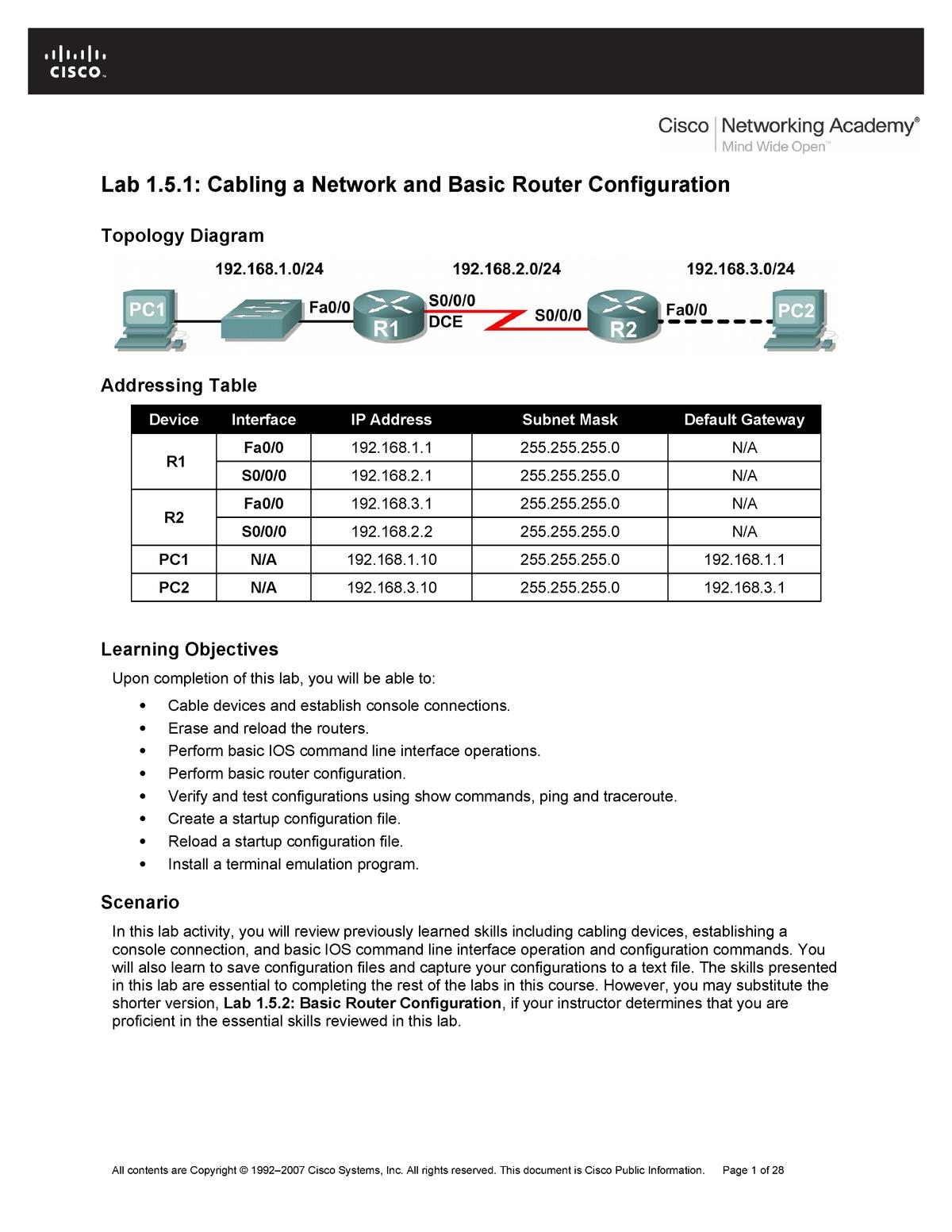 Cisco lab-1 - CST 2307: Networking Fundamentals - StuDocu
