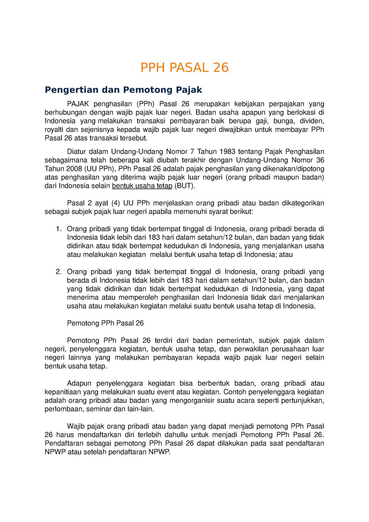 Pph Pasal 26 Dan Contoh Soal Studocu