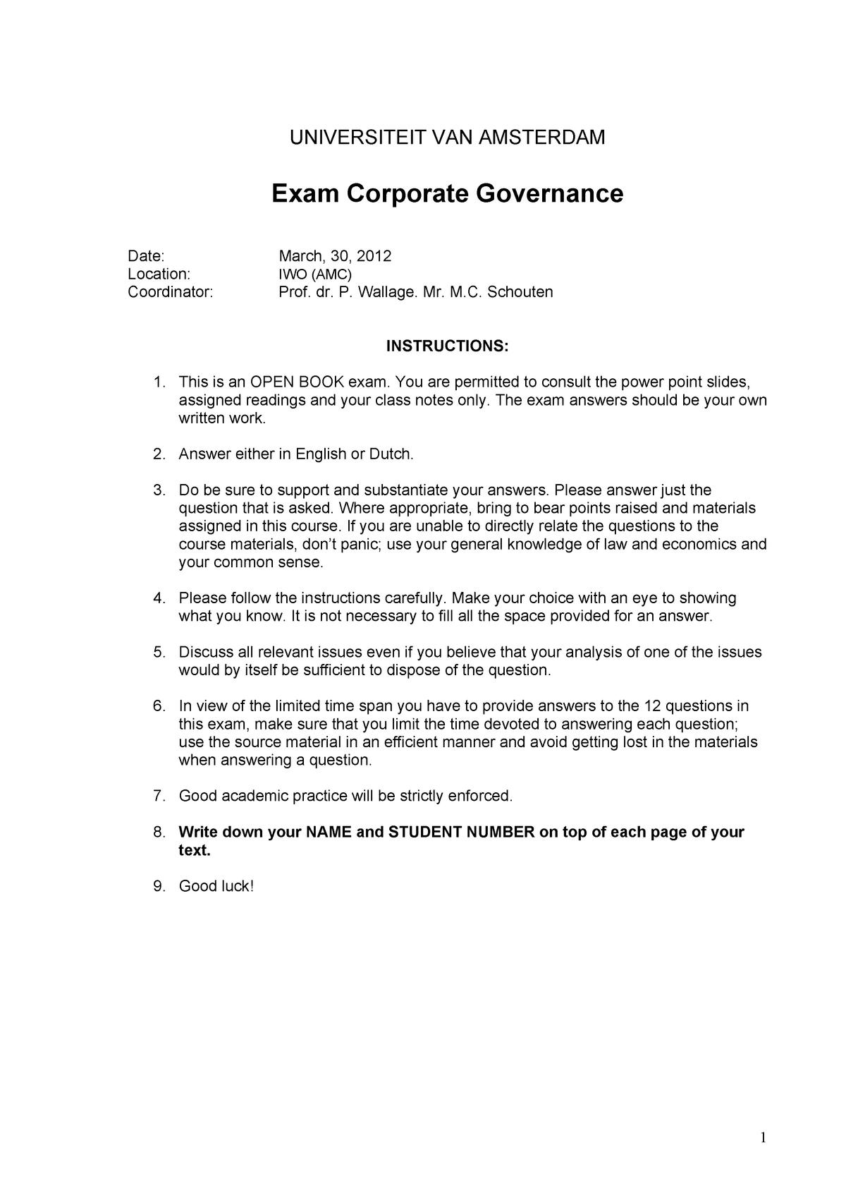 Exam 2012 - 6012B0266Y: Corporate Governance - StuDocu