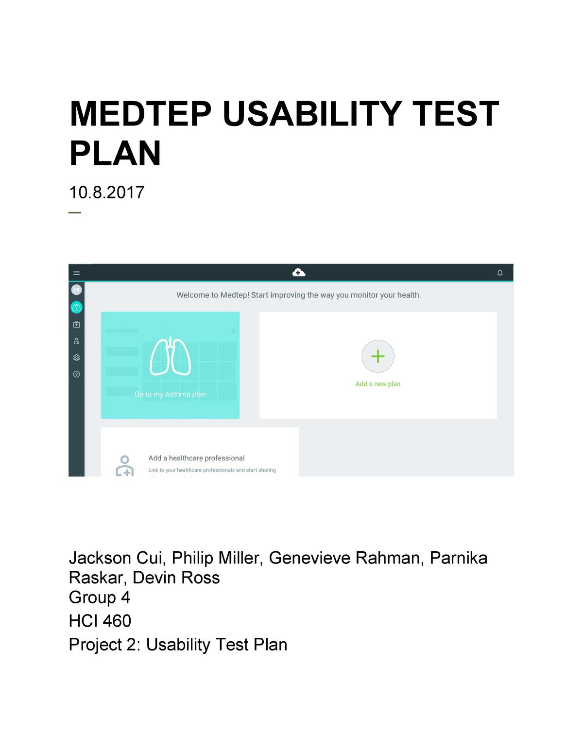 HCI460 Group 4 Project 2 - HCI 460: Usability Evaluation