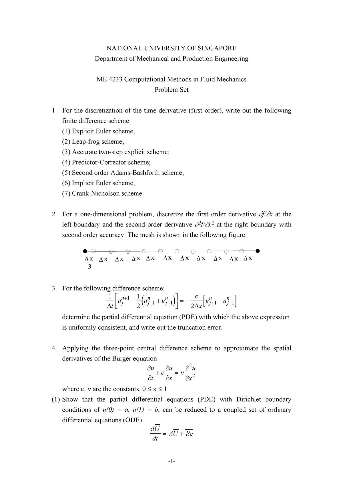 Exam 2017 - ME4233: Computational Methods In Fluid - StuDocu