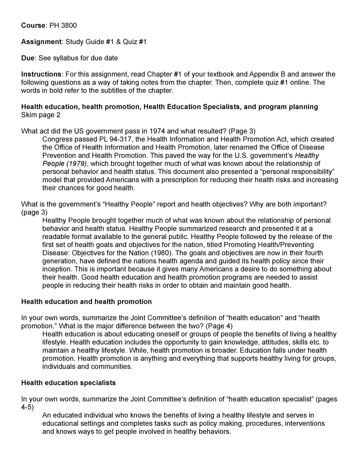 Study Guide #1 PH Intervention 1 - PH 3800 - App State - StuDocu