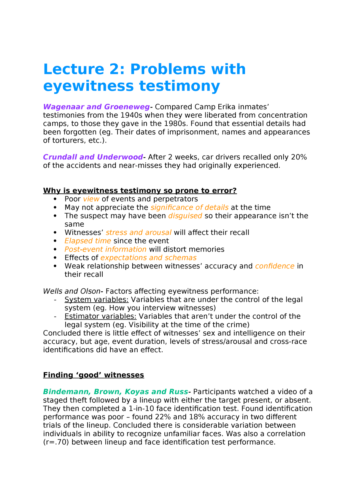 eyewitness memory