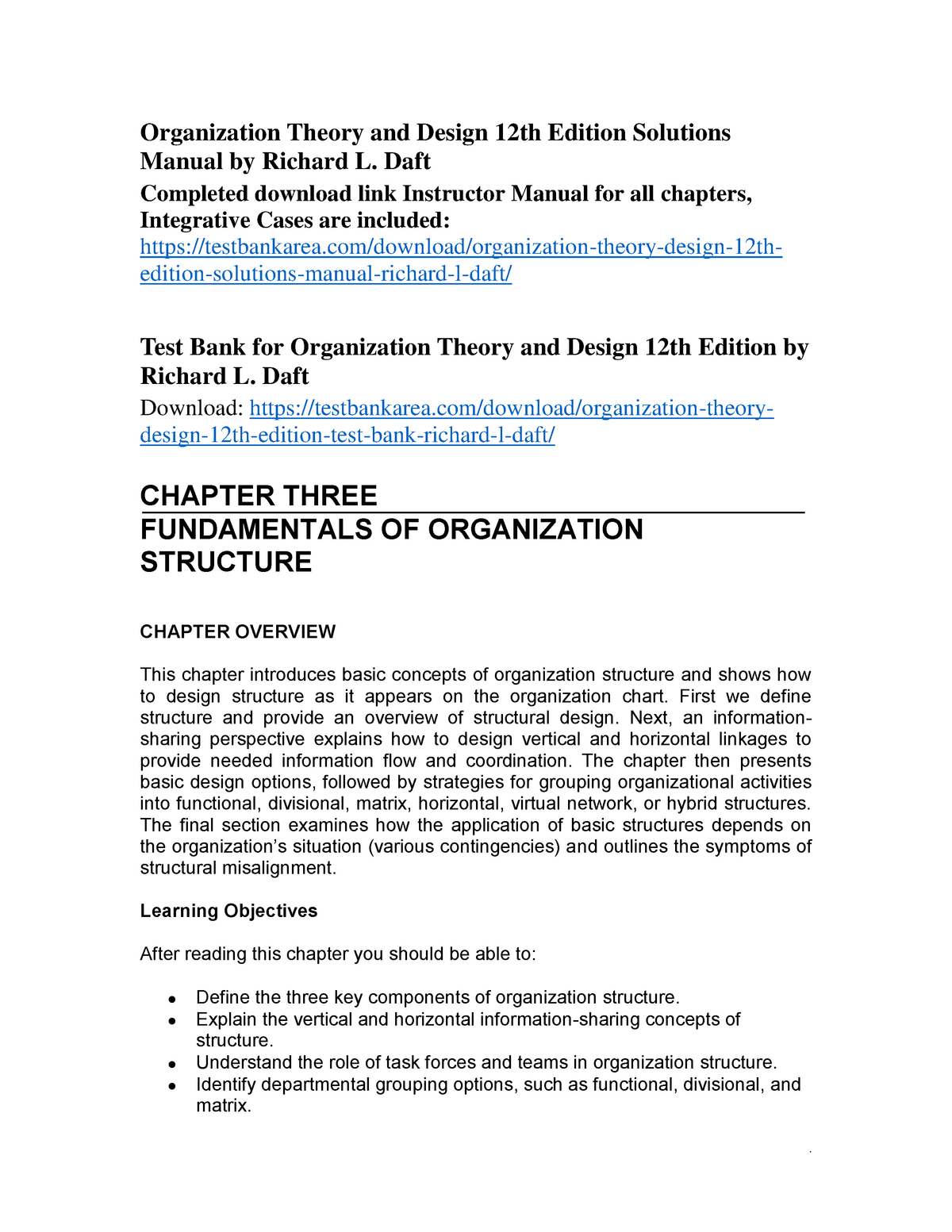 Organization Theory And Design 12th Edition Solutions Manual By Richard L Studocu