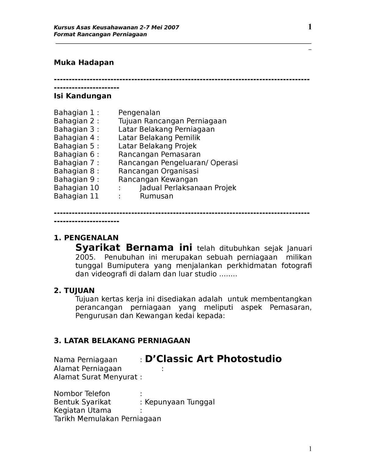 36401785 Rancangan Perniagaan Accounting Act 4191 Upm Studocu