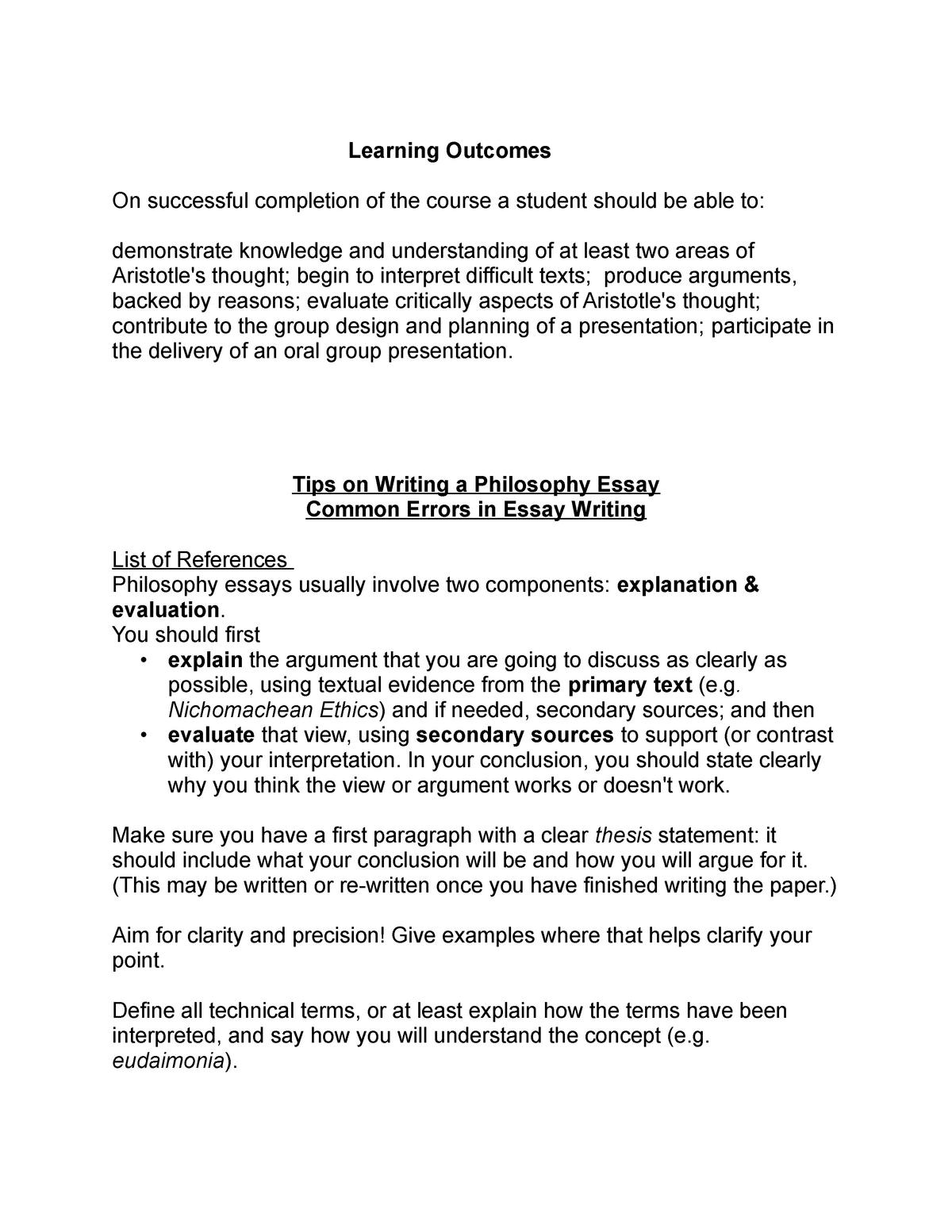 philosophy essay writing tips   hum aristotle   studocu