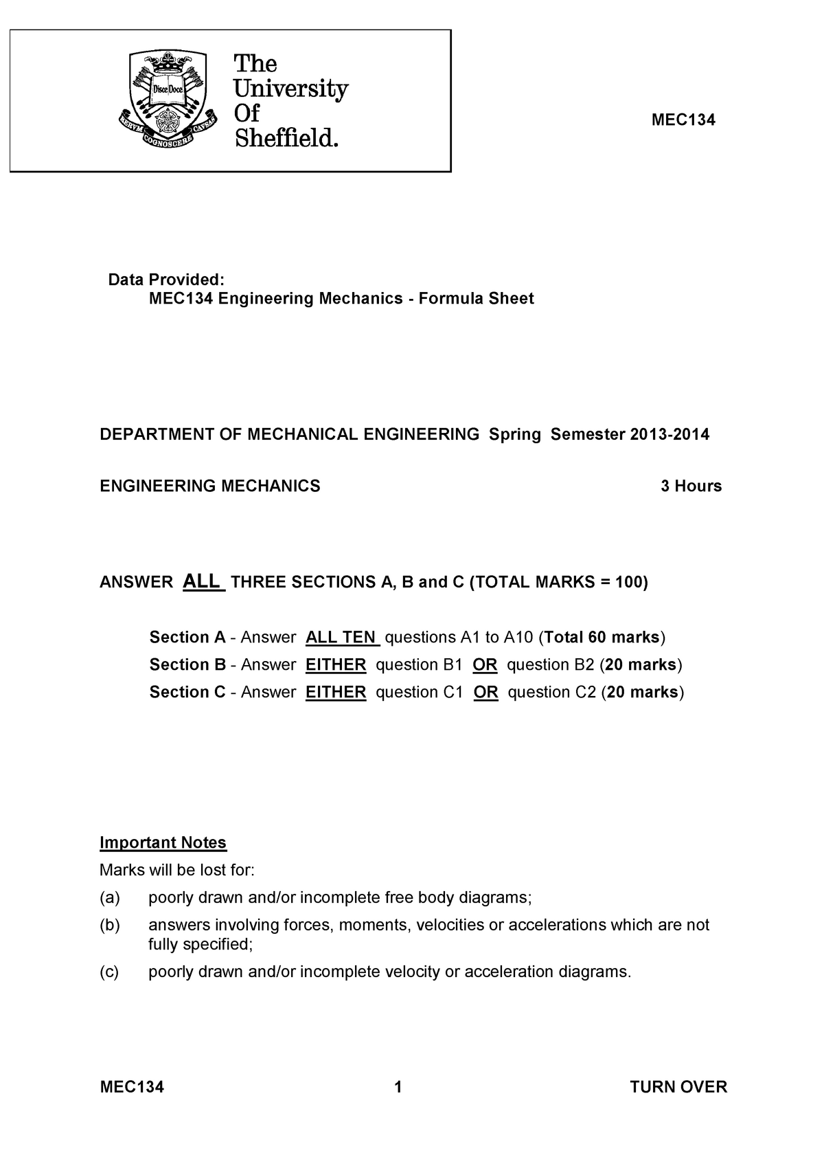 Exam 2014, questions and answers - Engineering Mechanics
