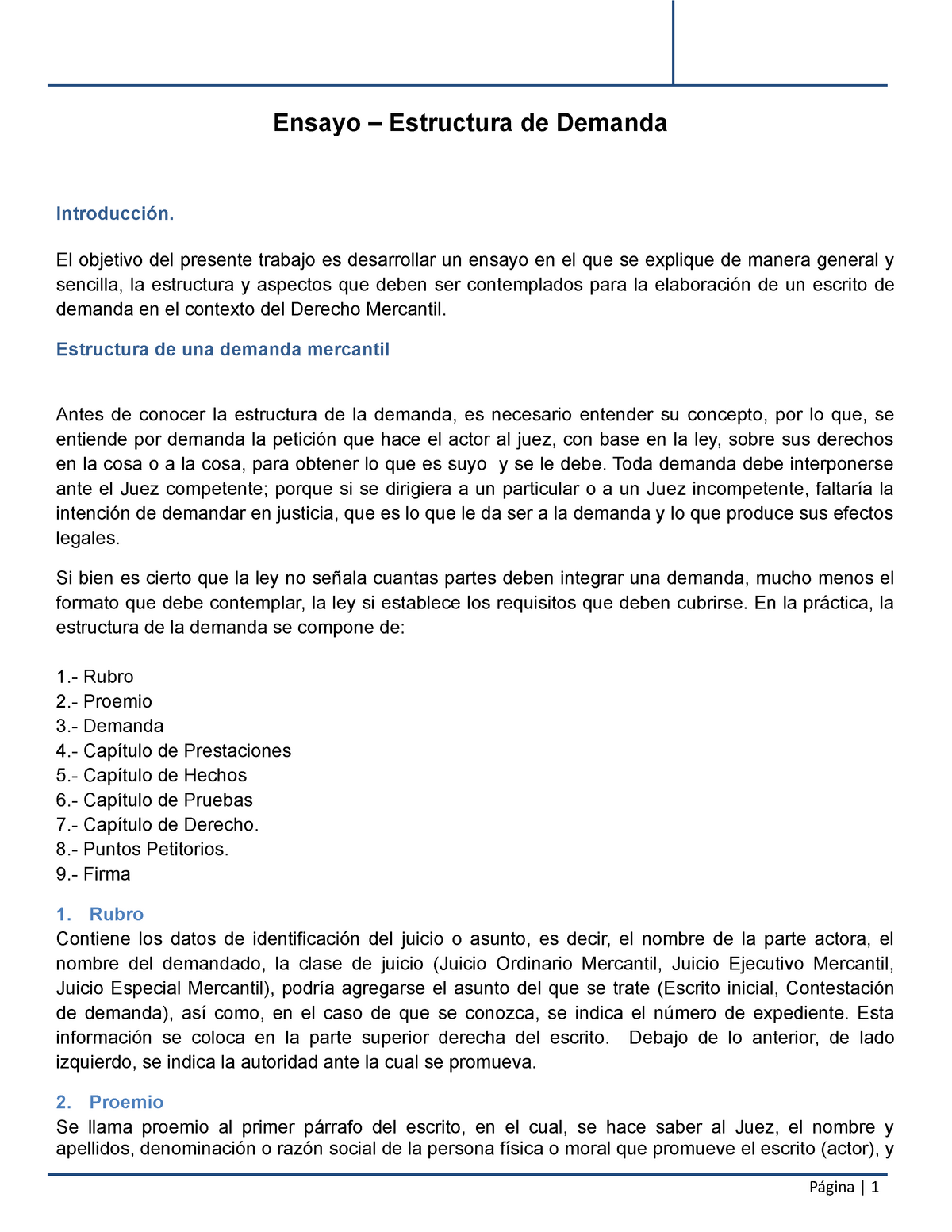 Estructura Demanda Apuntes Derecho Uvm Studocu