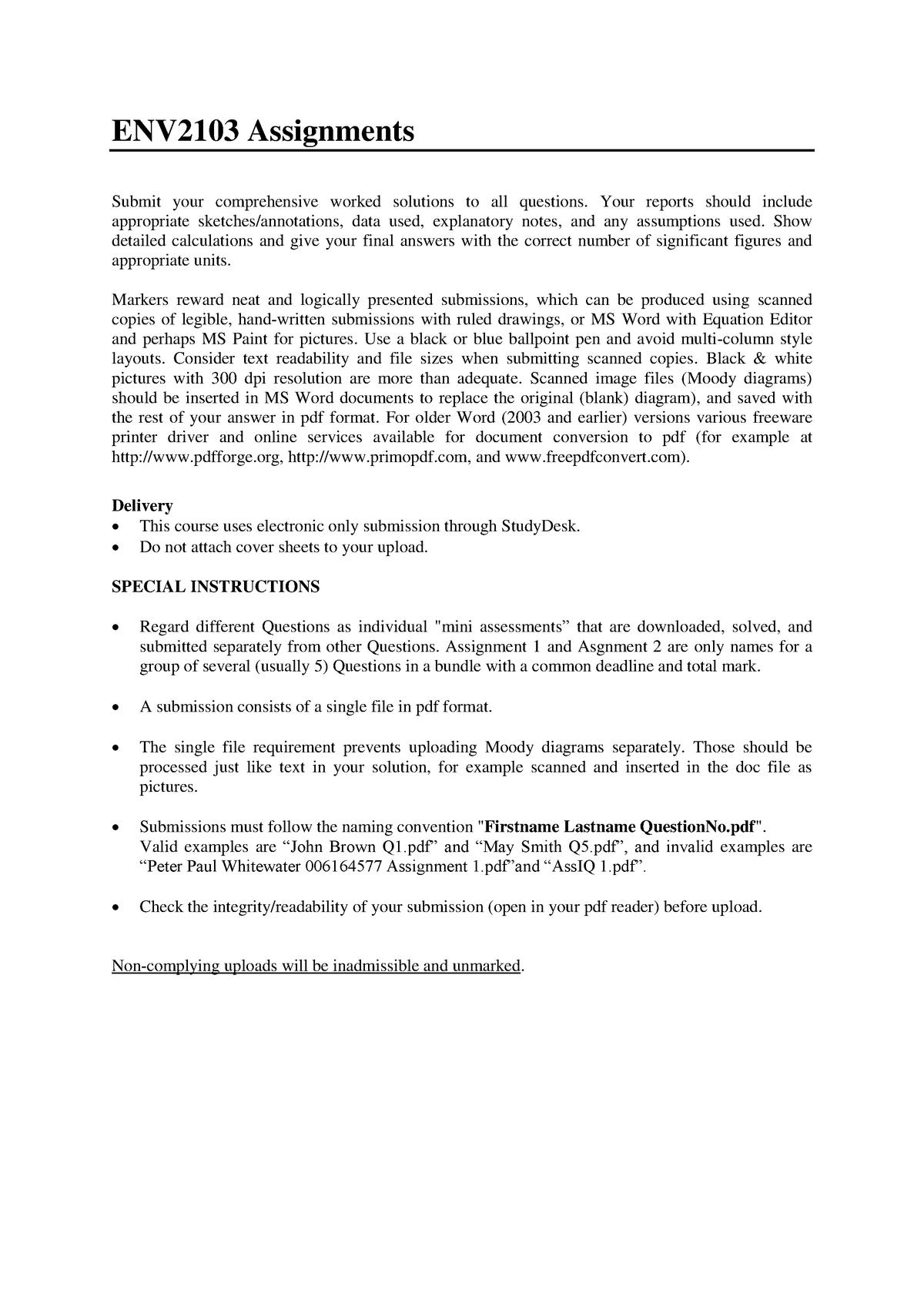 Assignment 2 - ENV2103: Hydraulics I - StuDocu