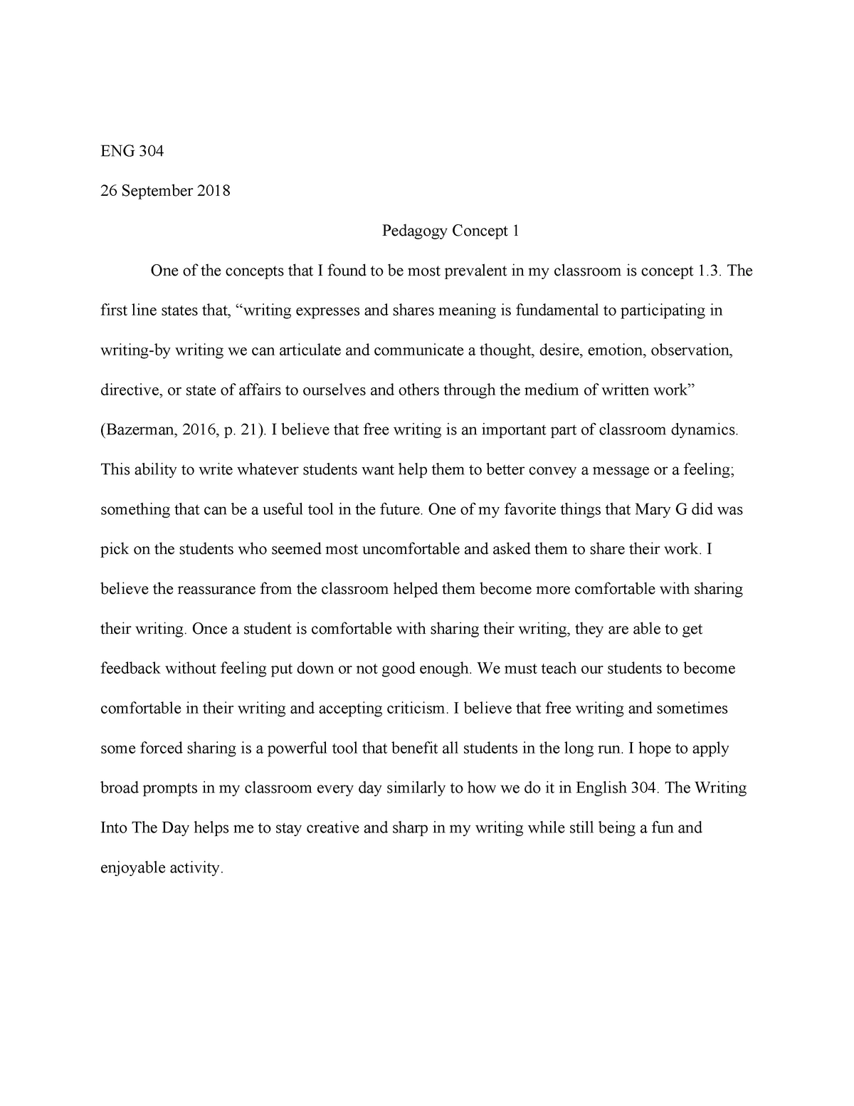 Pedagogy Concept - Grade: A - ENG 304: Bckgrnds Comp Theory & Resrch