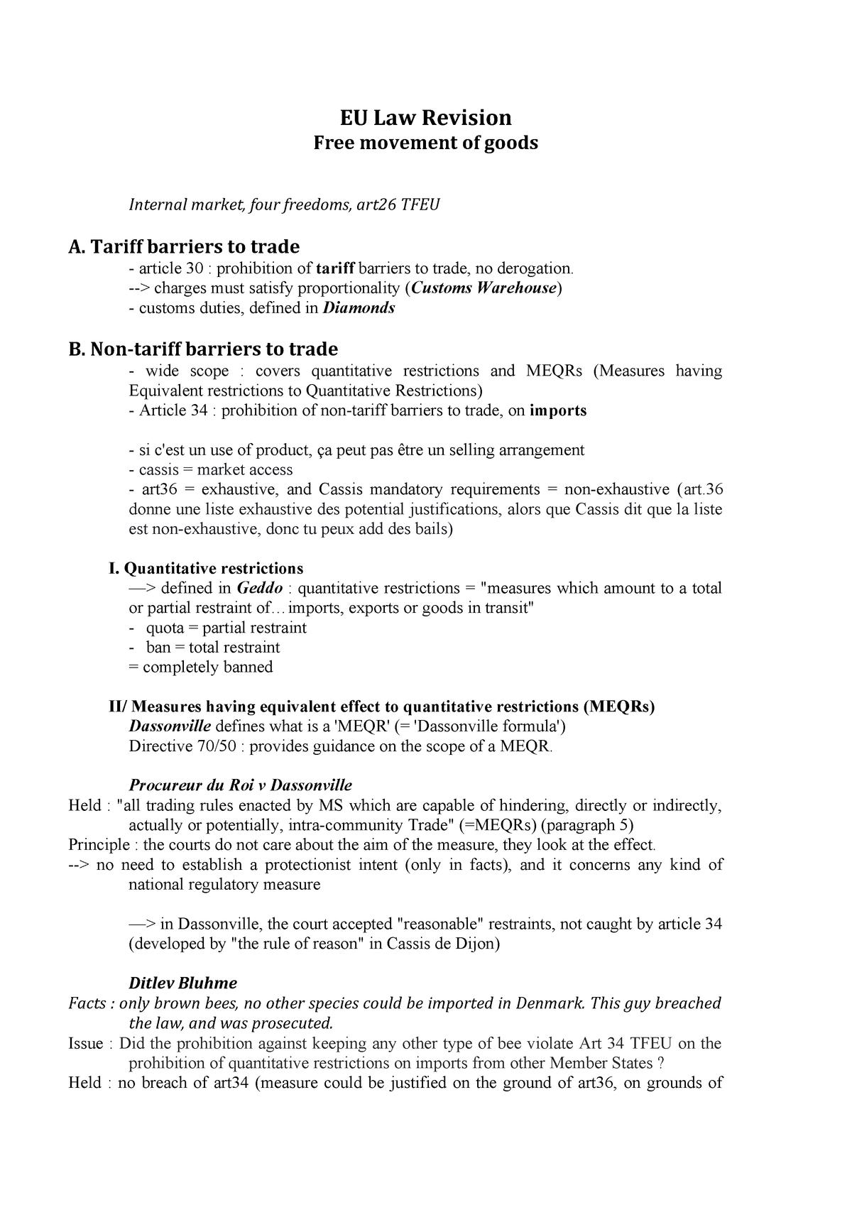 EU Law Revision - Exams - Summary European Law - StuDocu