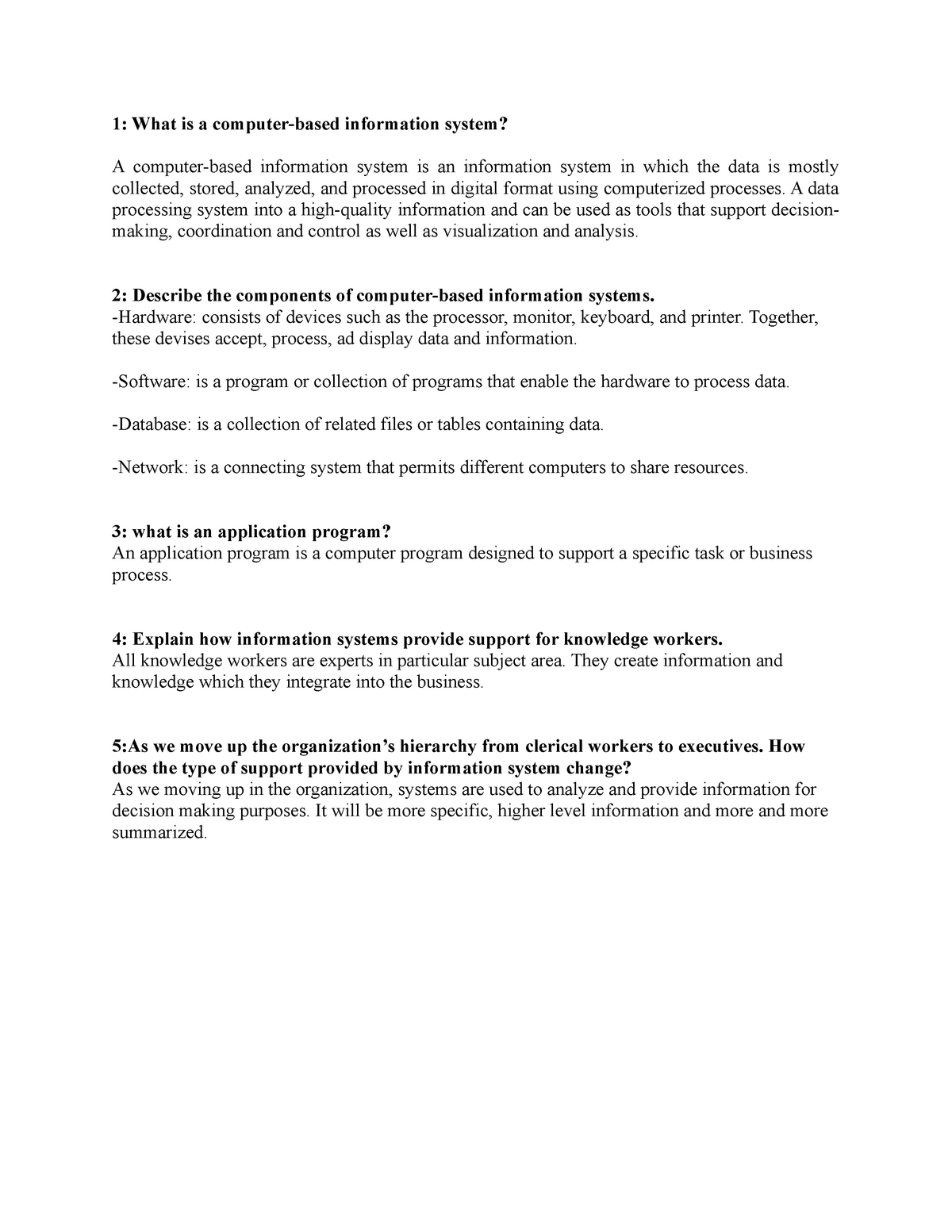 CMIS2250 Chapter-1 3 questions - Mis701: Introduction to Management
