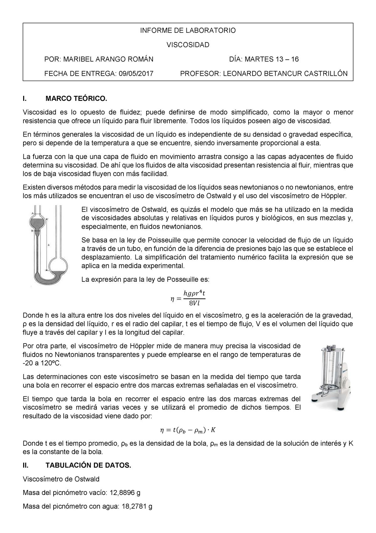Viscosimetro De Ostwald Pdf