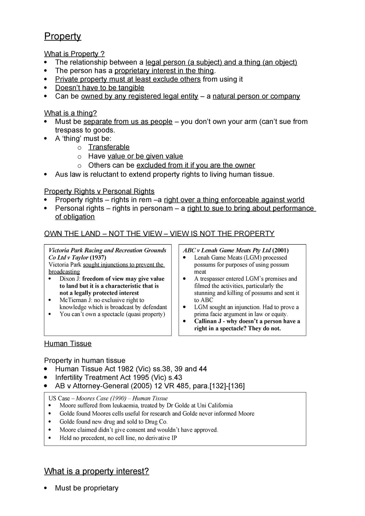 Basic Property Law - 311961 - StuDocu