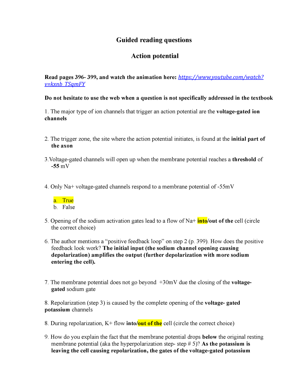 3 Grq Action Potential Bio 271 Guided Reading Questions Action Potential Studocu