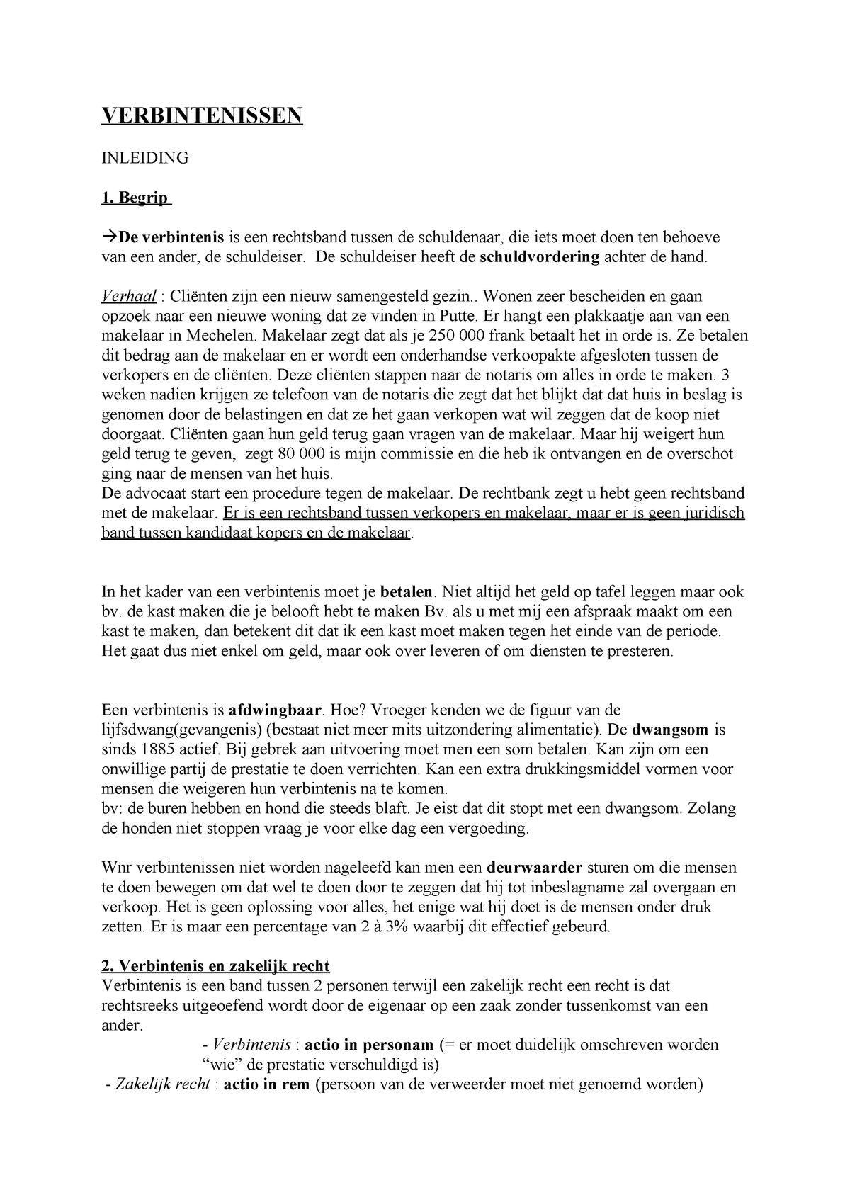Verbintenissenrecht Samenvatting 3 Module 1 Ap Studocu