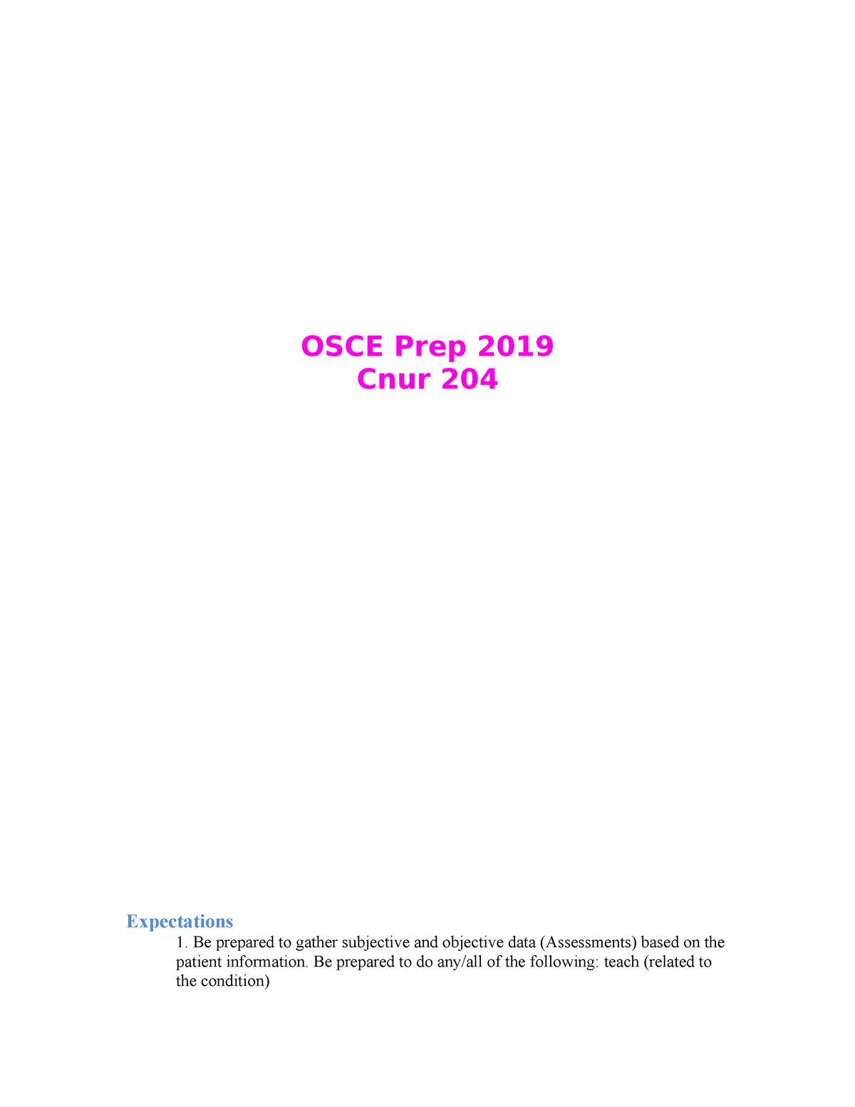 OSCE Prep 2019 - CNUR 204 Osce notes - CNUR 204: Alterations