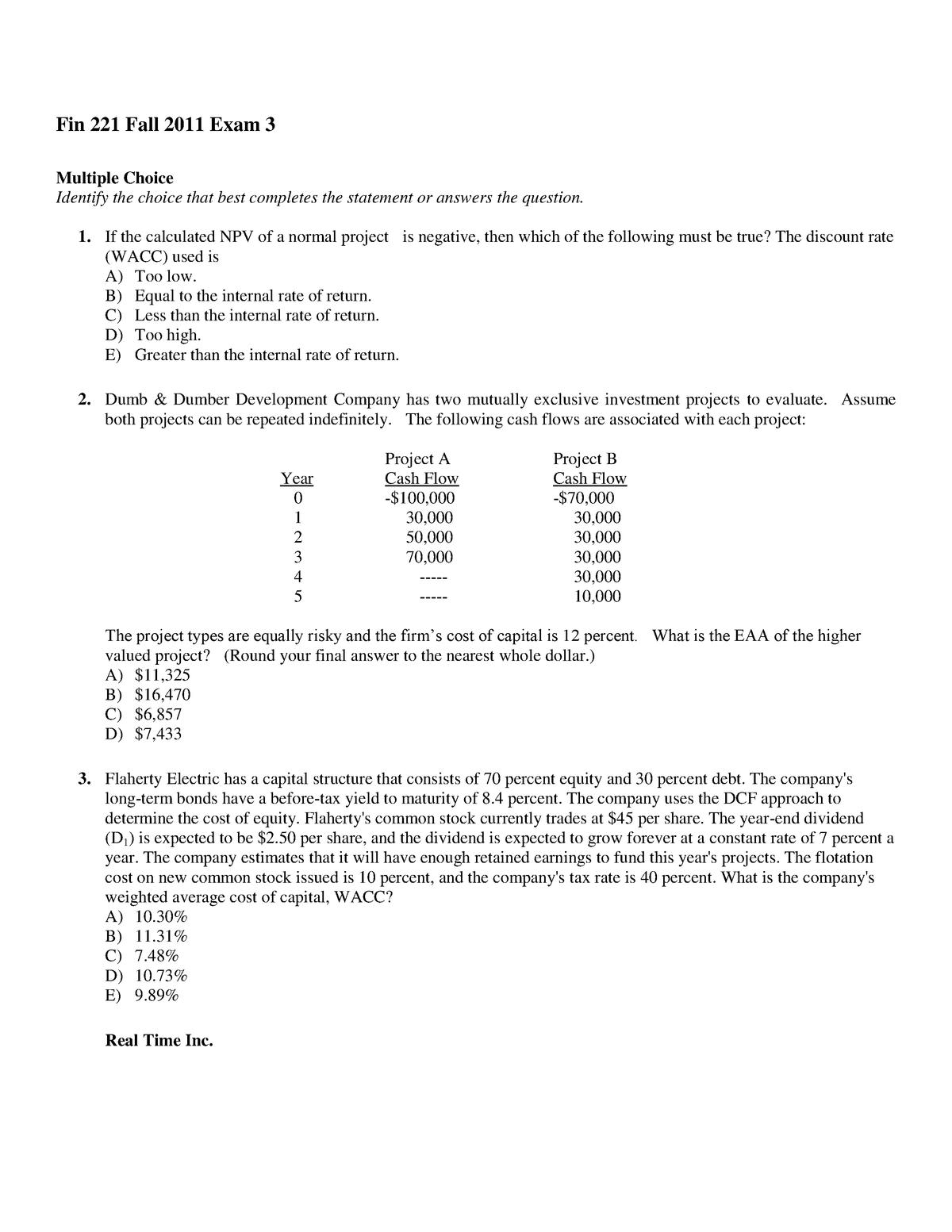 Exam 3 Fall 11 Corporate Finance Professor Dyer - FIN 221