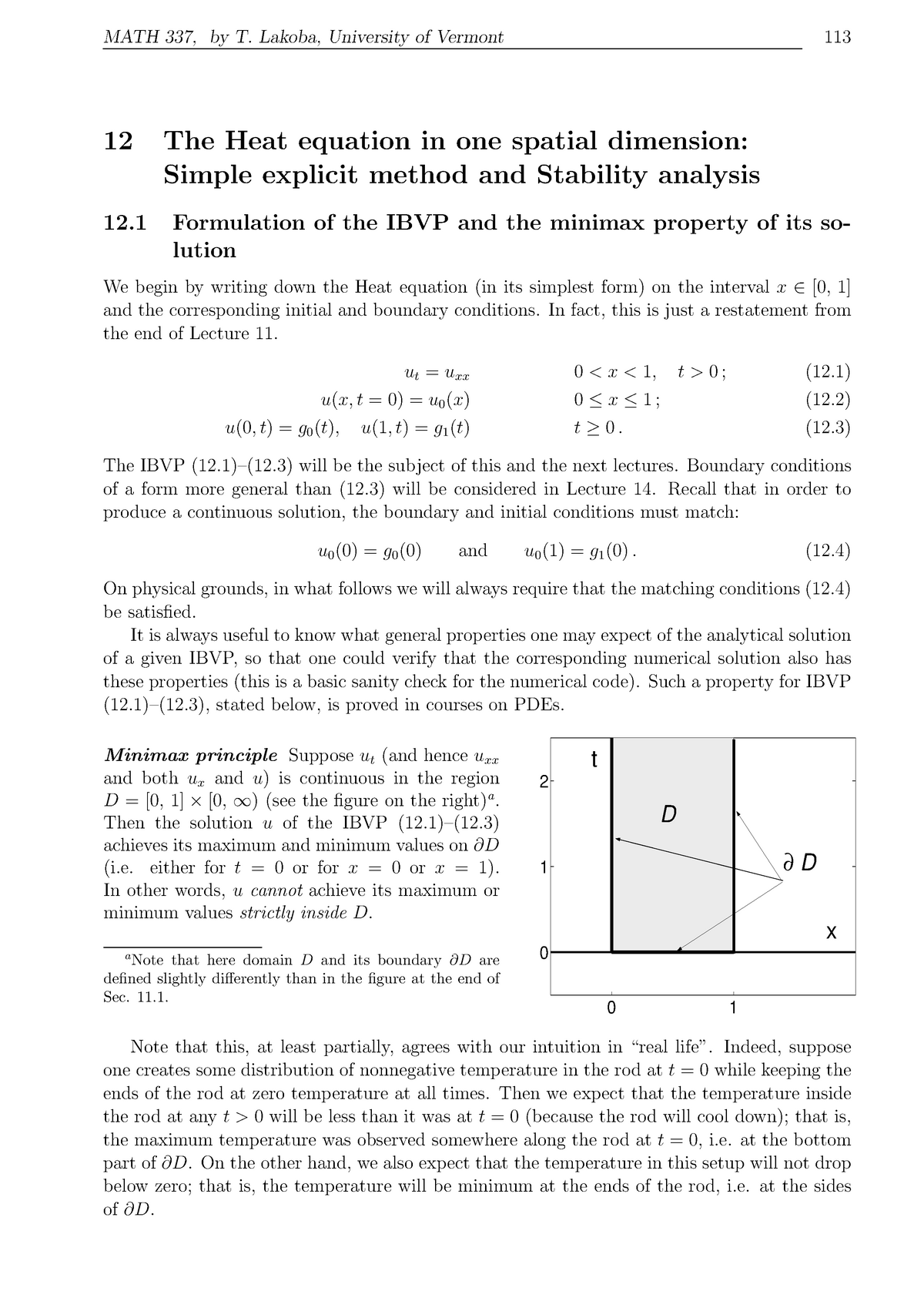 MATH 337 2011-2012 Lecture Notes 12 - The Heat equation in