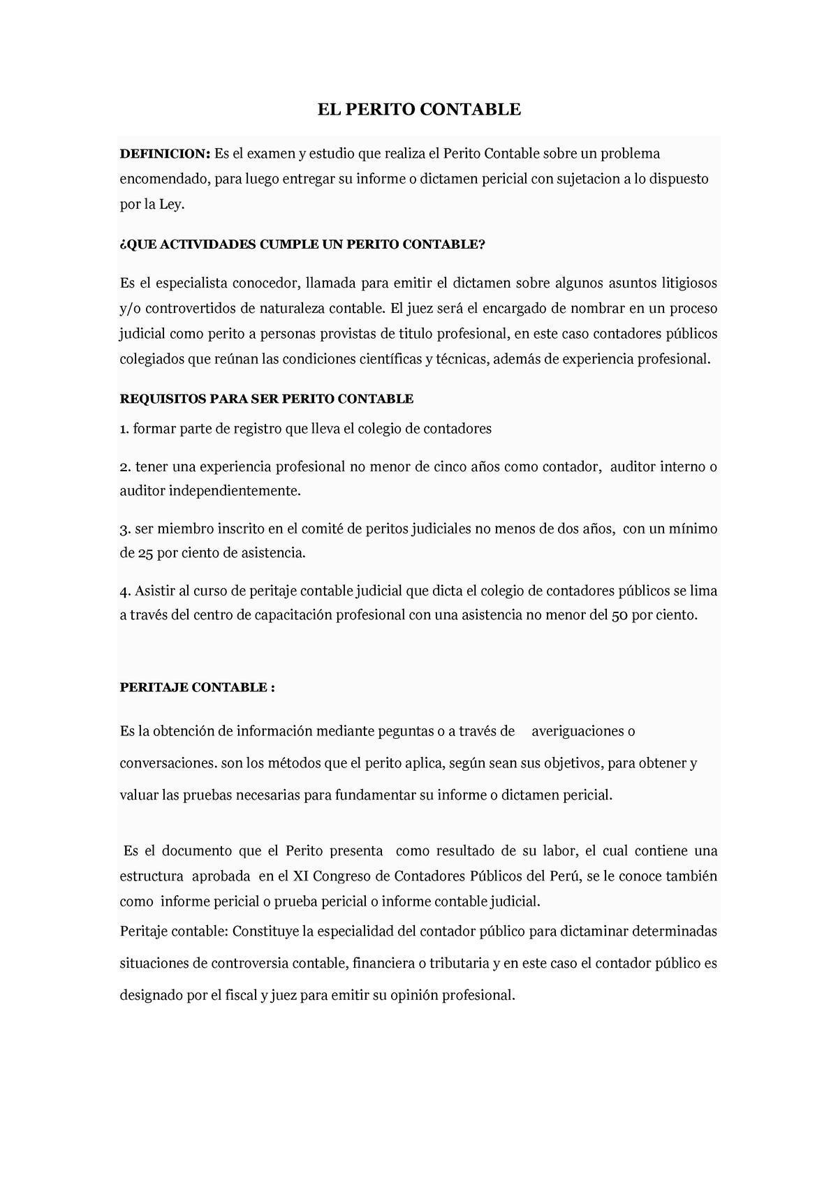 El Perito Contable Medicina Legal 122079 Uam Studocu