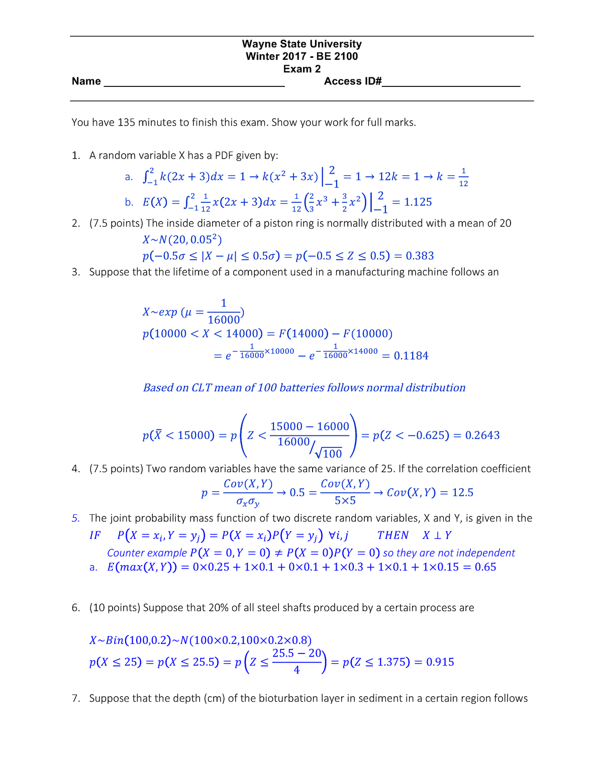 Exam 2017 - BE 2100: Basic Engineering: Statistics - StuDocu