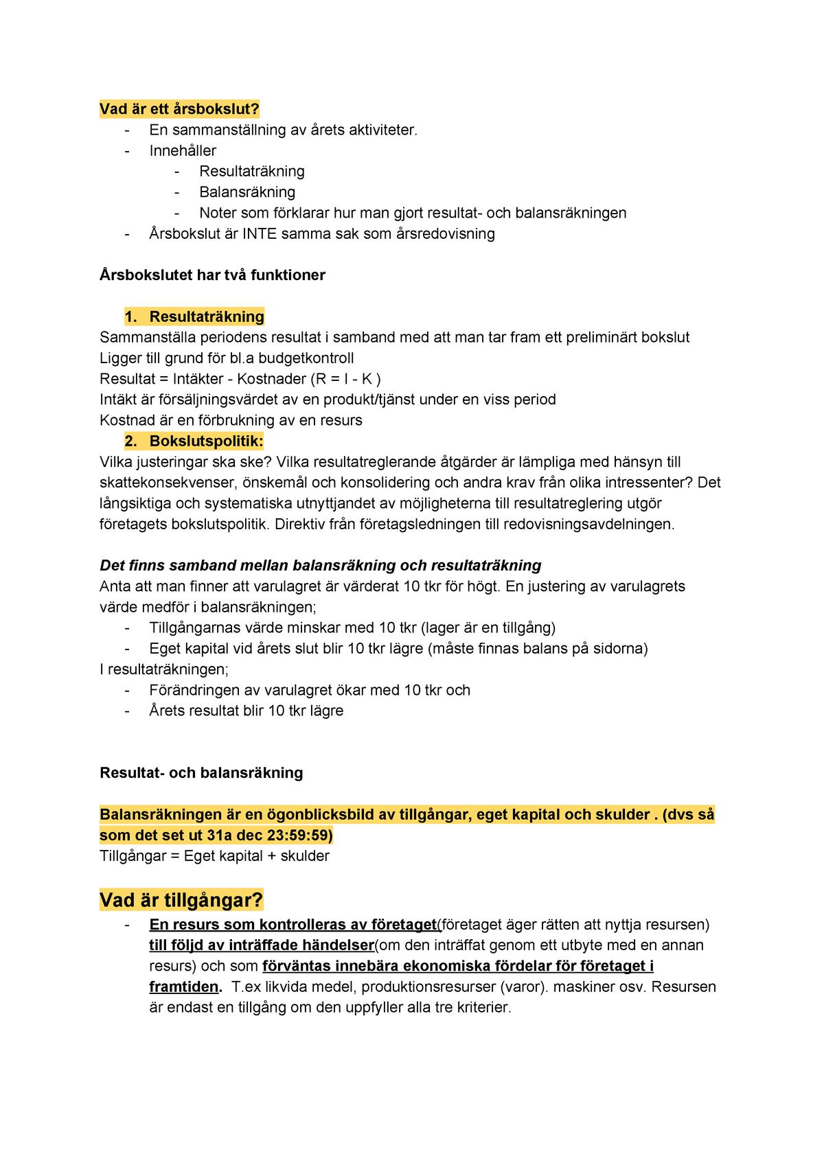 Arsbokslut Tillgangar Redovisning 1 Fe1403 Su Studocu
