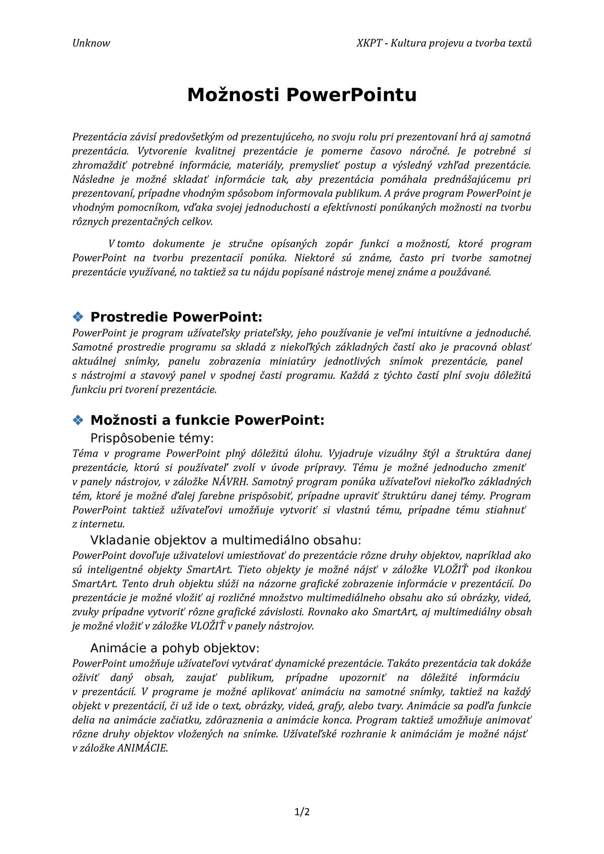 e8e7b16f94add Možnosti Power Pointu - Communication - StuDocu