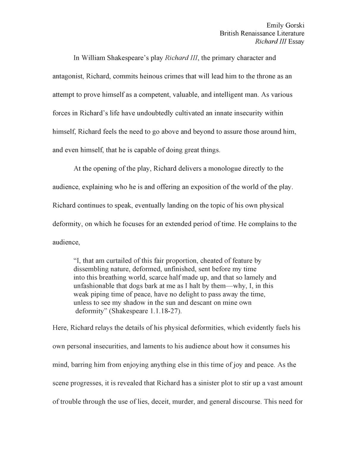 richard the rd essay   grade b   eng  english renaissance  richard the rd essay   grade b   eng  english renaissance literature    studocu