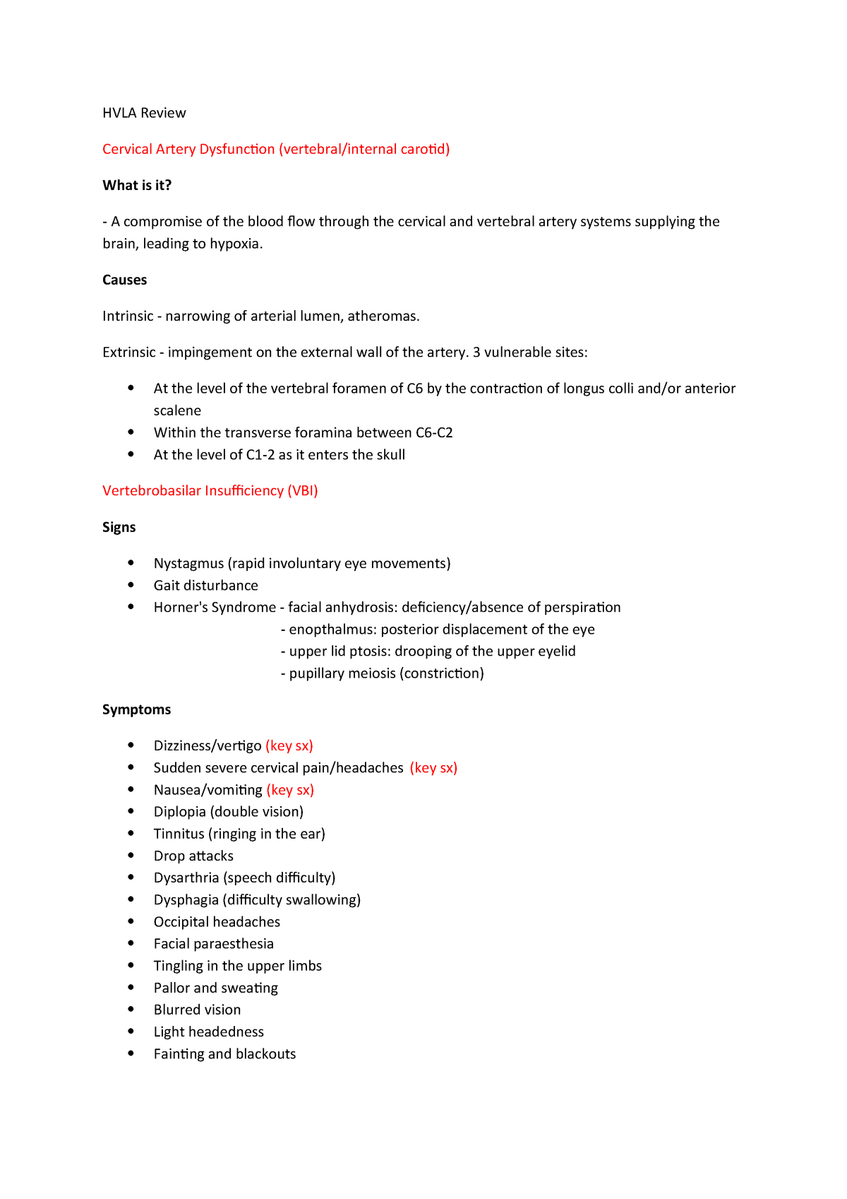 Revision for HVLA 1, theory exam - HBSO: Bachelor of Science