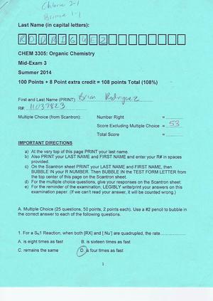 Exam 2015 - CHEM 3305: Organic Chemistry I - StuDocu