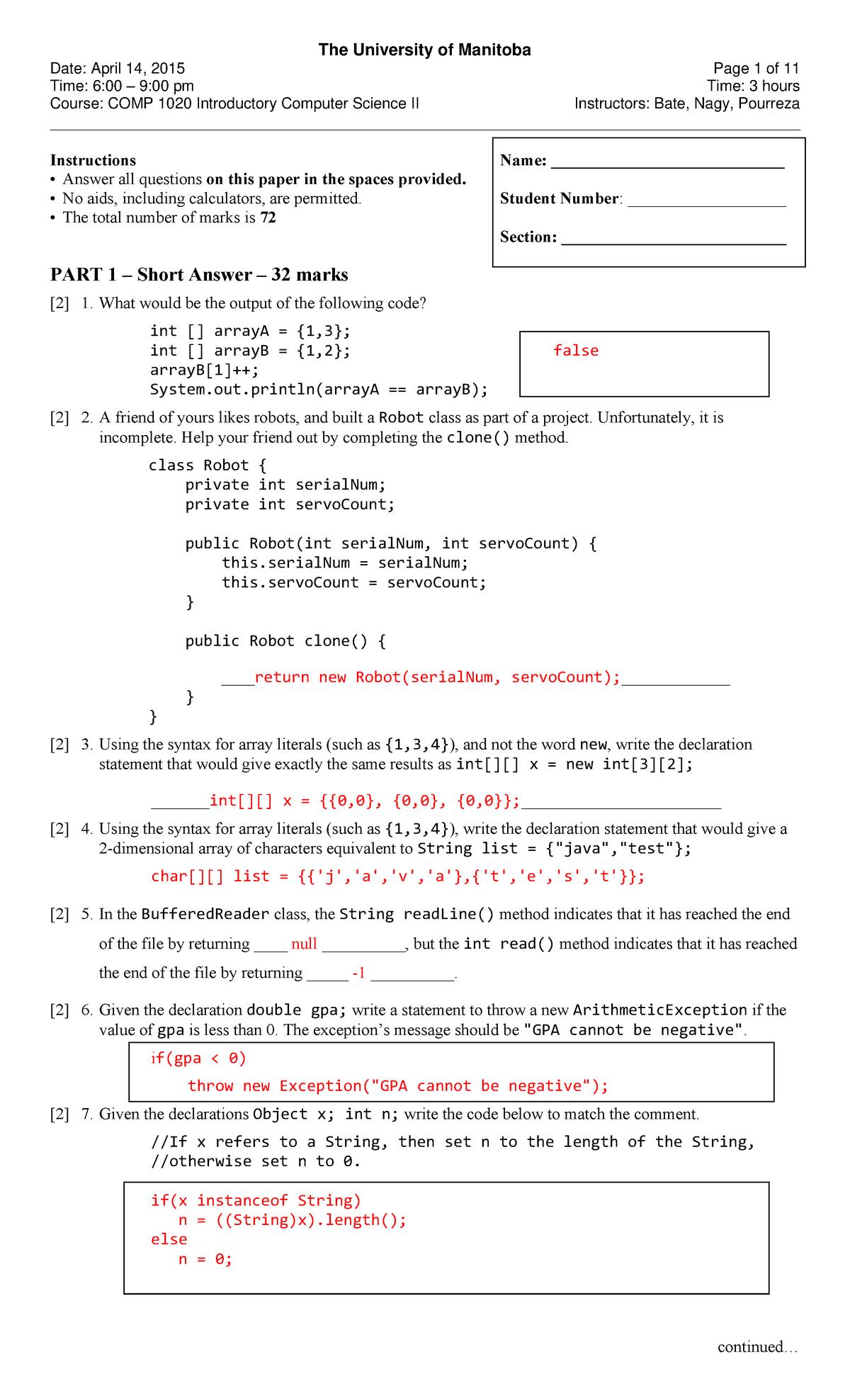 Exam 2015 - COMP 1020: Introductory Computer Science 2 - StuDocu
