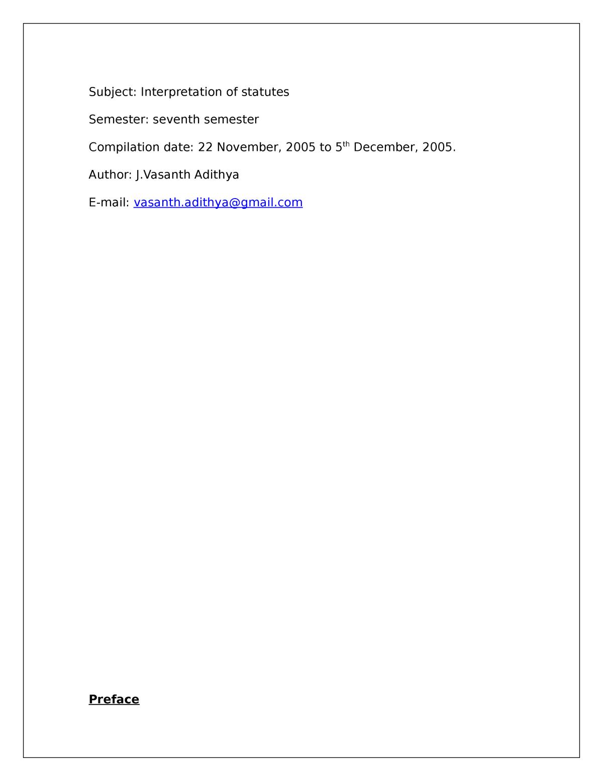 Interpretation Of Statutes - Summary - lectures 1 - 15 - StuDocu