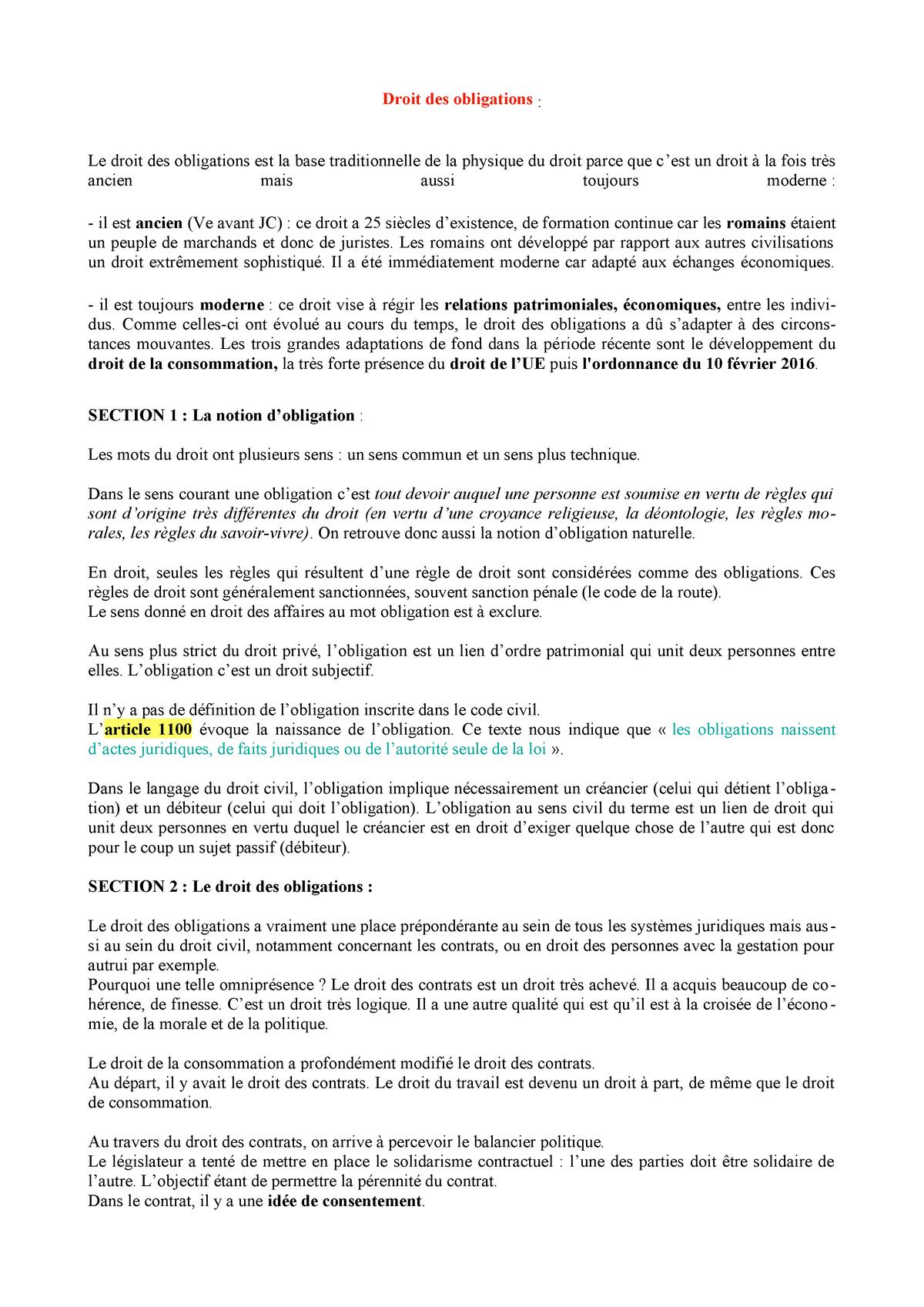 Droit Des Obligations S1 Studocu