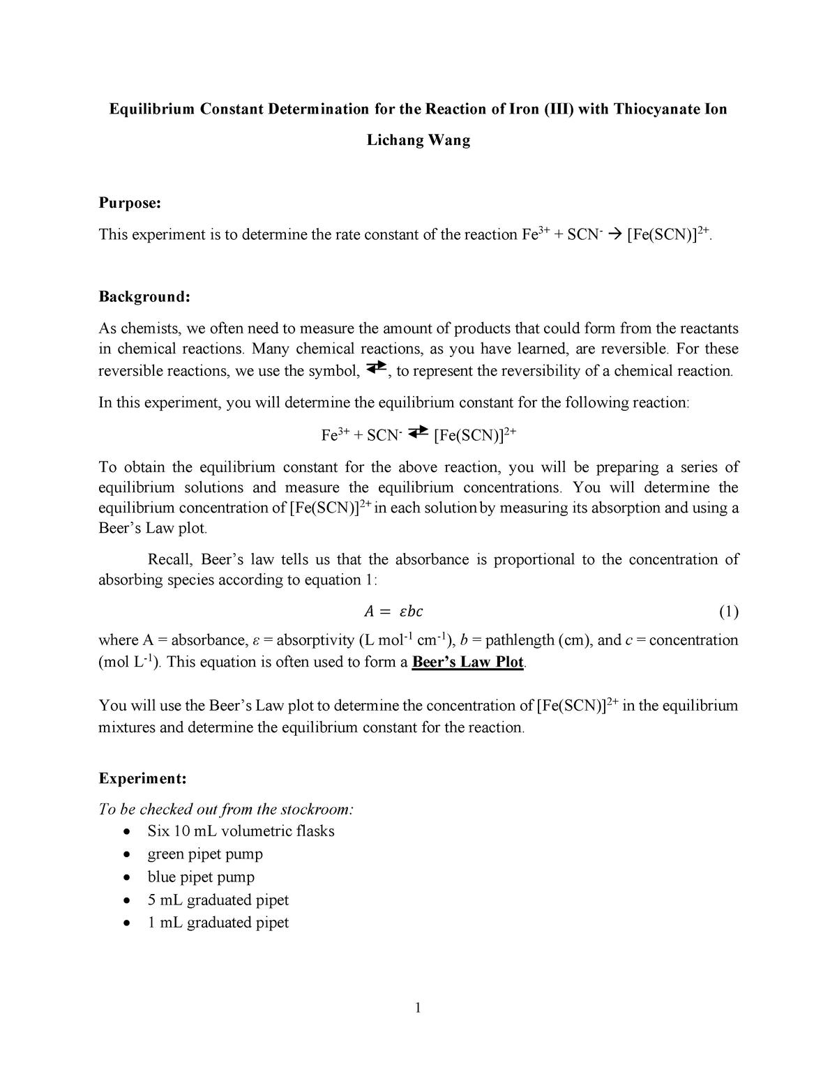 Chem211-Equilibrium Constant - CHEM 211 - SIU - StuDocu