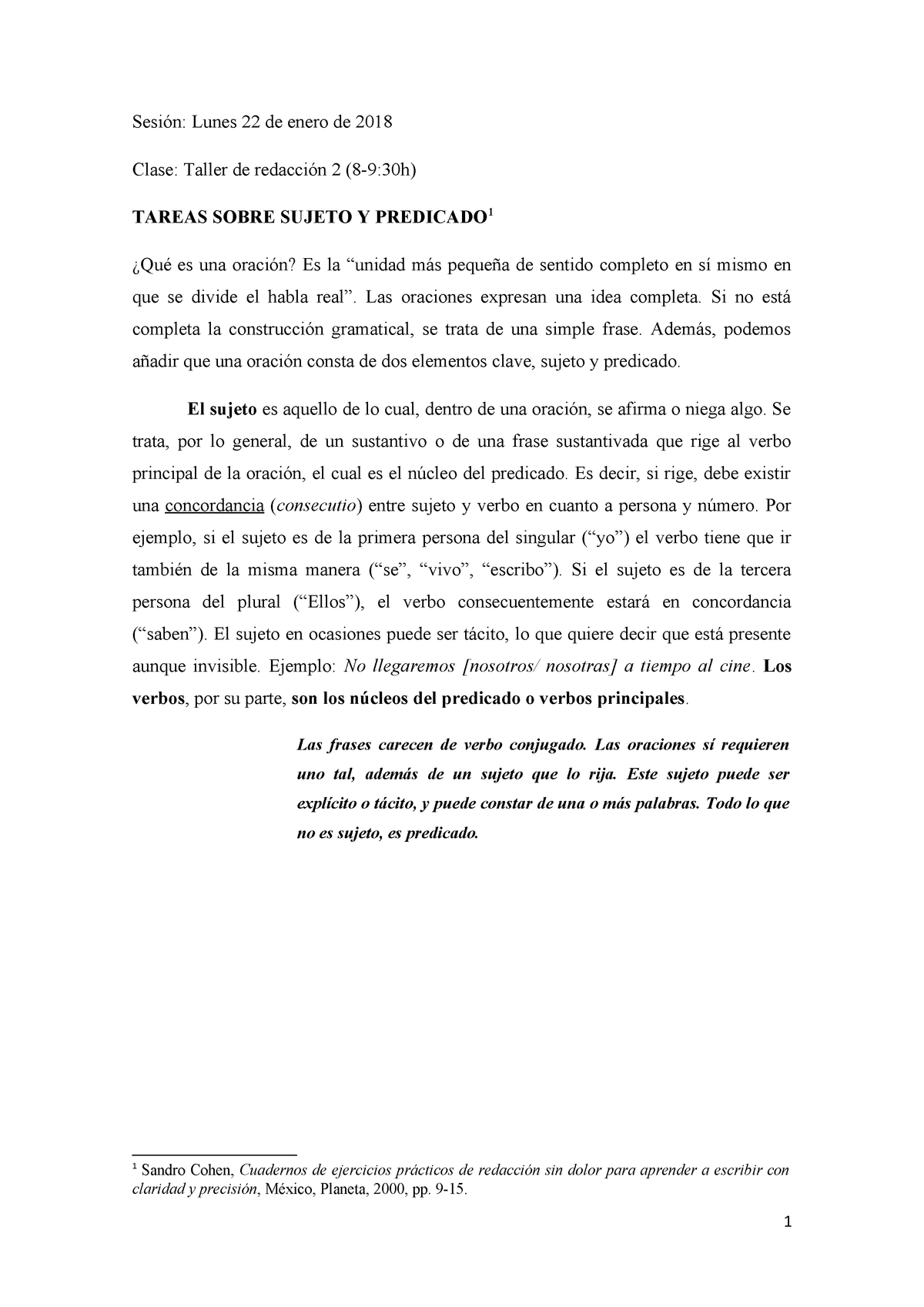 Sujeto Y Predicado Técnicas De Lectura Comprensiva Umg
