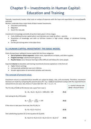 Chapter 9 investments in human capital education and training the underinvestment and overinvestment hypothesis meaning