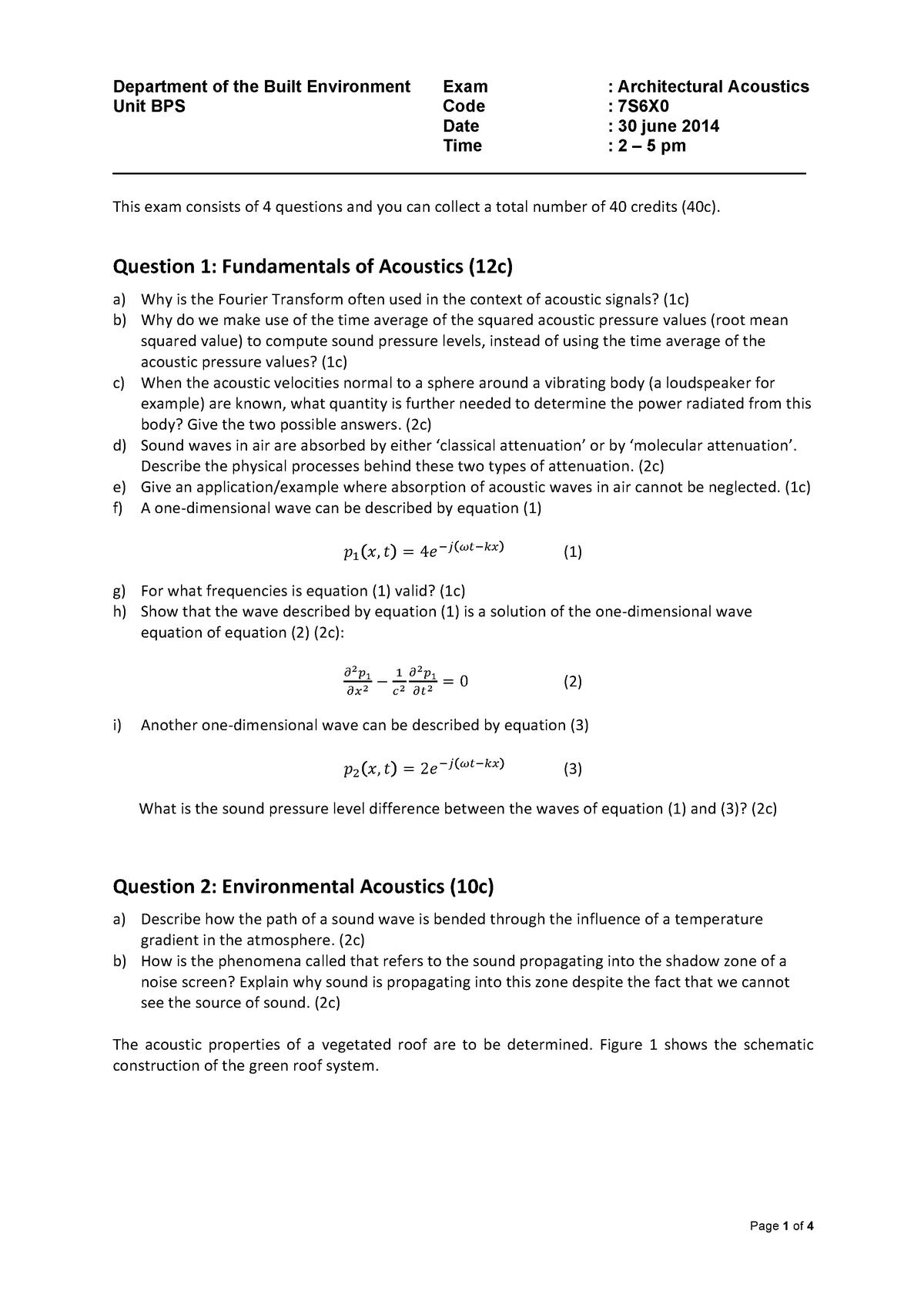 7S690 exam 2014-06-30 - 7LS8M0: Architectural acoustics - StuDocu