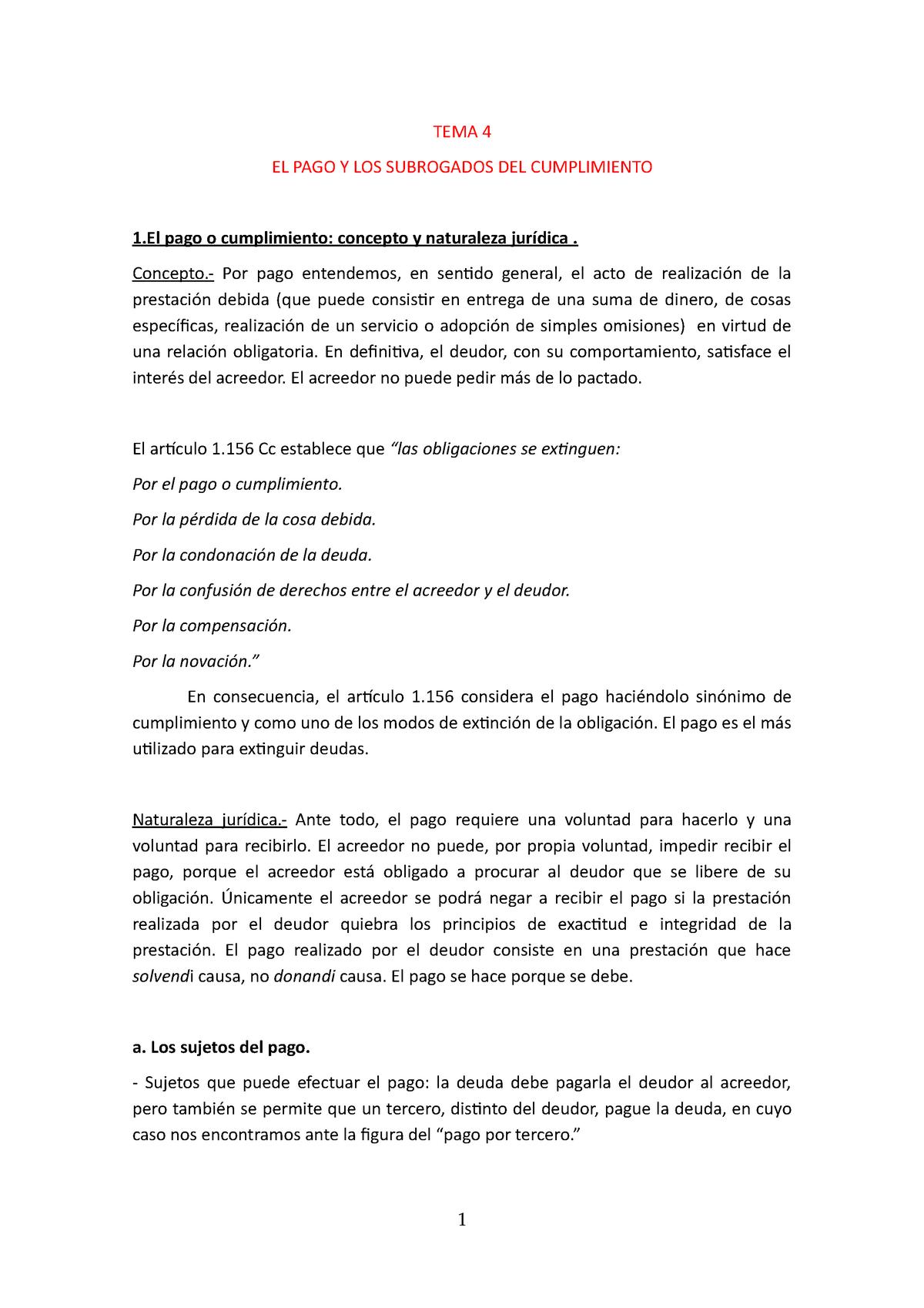 Tema 20, Tema 20 y Tema 20   Derecho de las Obligaciones y Derecho de ...